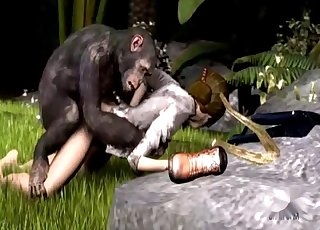 3D monkey pounds her juicy wet snatch